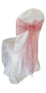 white damask chair cover rose sash